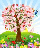 Romantic tree — Stock Vector