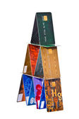 The tower constructed of credit cards — Stock Photo