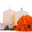 Foto Stock: Burning candles and flowers gerbera