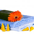 Blue towels, Flower, soap — Stock Photo