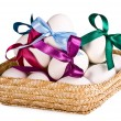 Royalty-Free Stock Photo: Basket with eggs, on a white