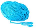 Blue knitting on spokes large, isolated — Stock Photo