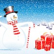 Snowman and gifts - Stock Vector