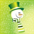 Stock Vector: Green snowman