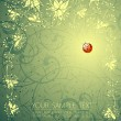 Floral background and the ladybird — Imagen vectorial