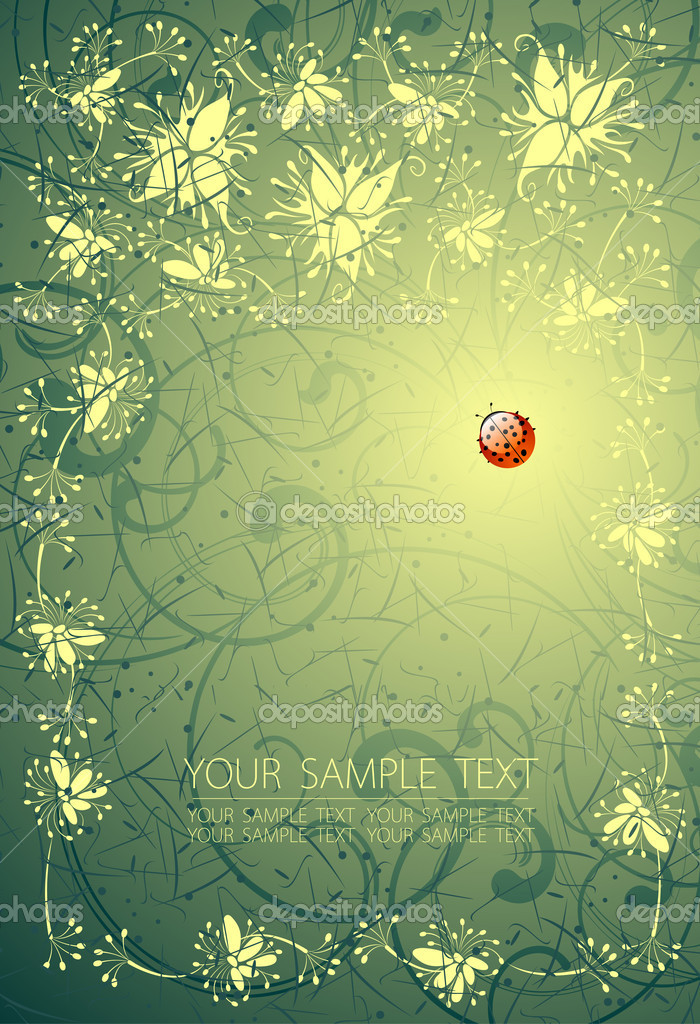 Floral background and the ladybird — Stock Vector #2377836