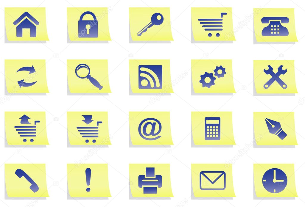 Set of icons of dark blue colour on yellow stickers. All icons organized in groups for usability. Software Used: Adobe Illustrator 10. — Stock Vector #1044215