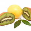 Bright, ripe lemon and kiwi. — Stock Photo