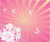 Flowers and butterflies. Vector illustra — Stock Vector