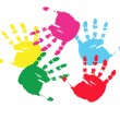 Royalty-Free Stock Векторное изображение: Colour prints of hands.Vector illustrati