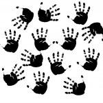 Black prints of hands. Vector illustrati — Stock Vector