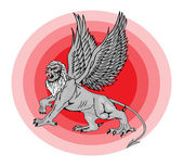 The big mythological griffin. Vector ill — Stock Vector