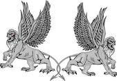 Dos griffins.vector mitológicas illustr — Vector de stock