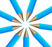 Circular arrangement of nine dark blue p — Stock Vector