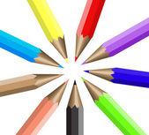Circular arrangement nine colour pencils — Stock Vector
