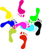 Colour prints of feet.Vector illustratio — Stock Vector