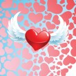 Red heart with wings — Stock Vector