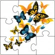 Puzzle from butterflies — Stock Vector