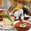 Ukrainian borsch, red-beet soup — Stock Photo