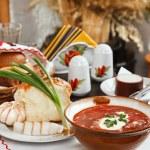 Ukrainian borsch, red-beet soup — Stock Photo #1037828