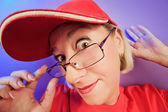 Funny surprised woman portrait in a cap — Foto de Stock