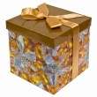 Fancy box with Golden ribbon bow — Stock Photo