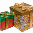 Two fancy boxes with Golden ribbon bow - Stock Photo