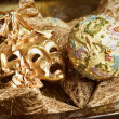 New Year decoration with golden mask - Stock Photo