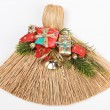 Christmas broom decorations on white — Stock Photo
