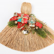 Christmas broom decorations on white — Stock fotografie