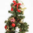Decorated Christmas tree on white - Stock Photo