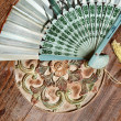 Bali fan on the table in orient style — Stock Photo