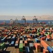 Containers in a cargo port - Foto Stock