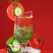 Vegetable fresh juice tomato cucumber - Stok fotoğraf