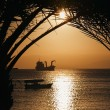 Golden Jordan sunset in Aqaba, red sea - Stock Photo