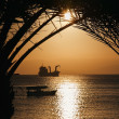 Golden Jordan sunset in Aqaba, red sea - 
