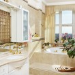 Gold bathroom interior in romantic style — Stock Photo #1052522