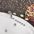 Detail of Bathroom with mosaic and jacuz — Stock Photo