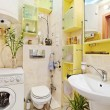 Small Bathroom with washing mashine - Stock Photo