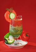 Vegetable fresh juice tomato cucumber — Stock Photo
