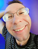 Funny happy man in glasses portrait — Stock Photo