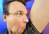 Funny disgusted man in glasses portrait — Stock Photo