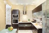 σύγχρονη κουζίνα εσωτερικό σε ζεστούς τόνους — Φωτογραφία Αρχείου