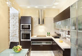 Modern Kitchen interior in warm tones — Stock Photo