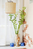Part of interior with Wicker Chandelier — Stock Photo