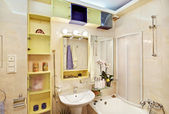 Modern Bathroom in yellow and blue — Stock Photo