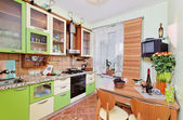 Green Kitchen interior with many utensil — Foto de Stock