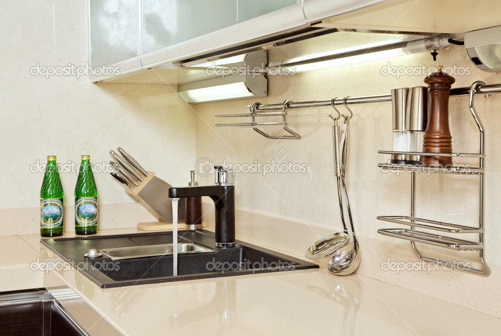 Part of modern Kitchen interior with Sink  Stock Photo #1054724
