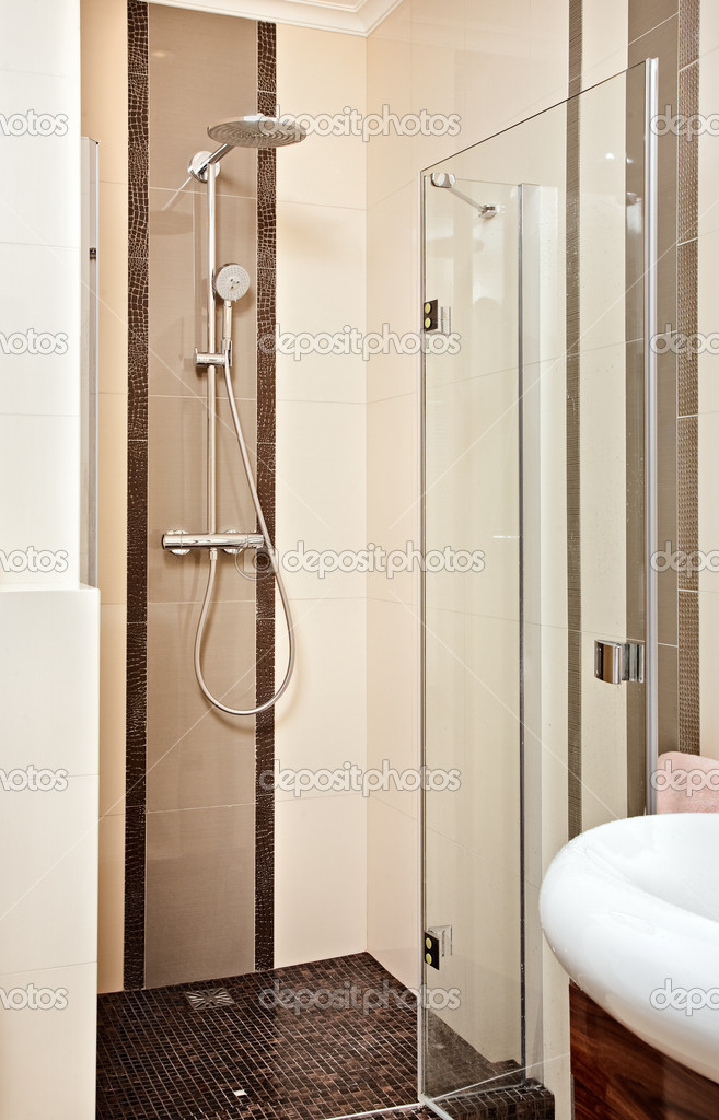 Shower-cubicle in beige tones — Stock Photo #1055270