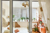 Sunny bedroom interior door view — Stock Photo